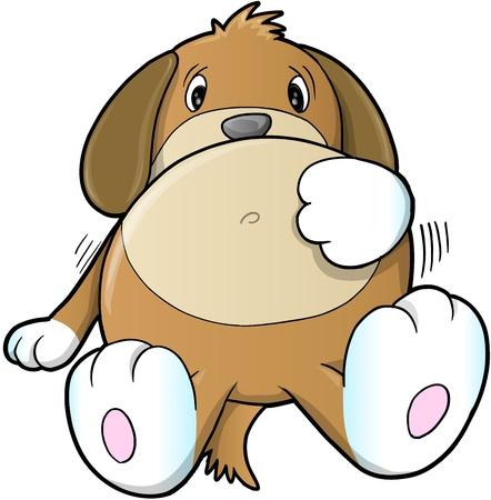 귀여운 아픈 강아지