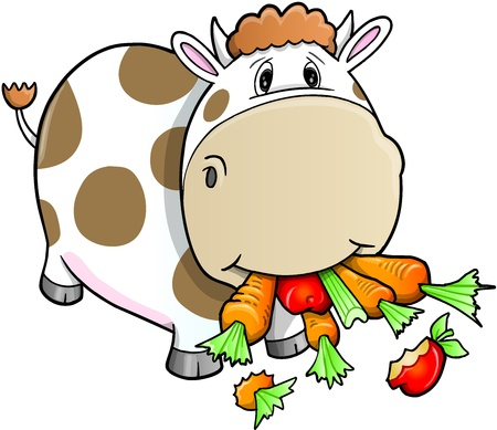 귀여운 농장 암소 야채를 먹고 일러스트