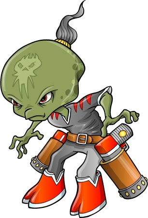 blasters: Alien Warrior Bounty Hunter Vector