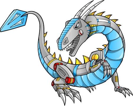 Robot Cyborg Dragon Vector Illustration art Stock Vector - 16443166