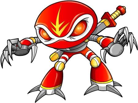 Warrior Ninja Robot Cyborg Soldier Vector Foto de archivo - 16542915
