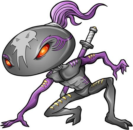 Cyborg Alien Ninja Warrior Robot Vector  Ilustracja