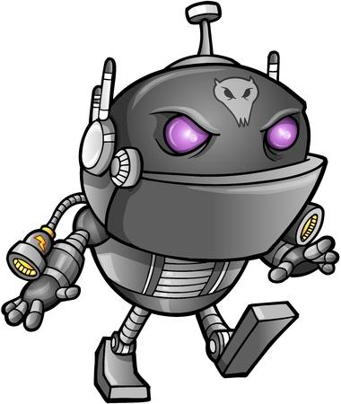 blasters: Cyborg Alien Ninja Warrior Robot Vector  Illustration