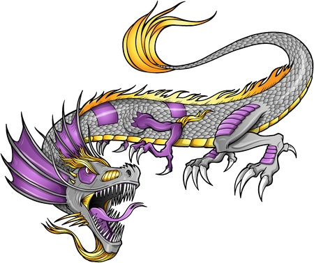 robot vector: Robot Cyborg Dragon Vector Illustration art