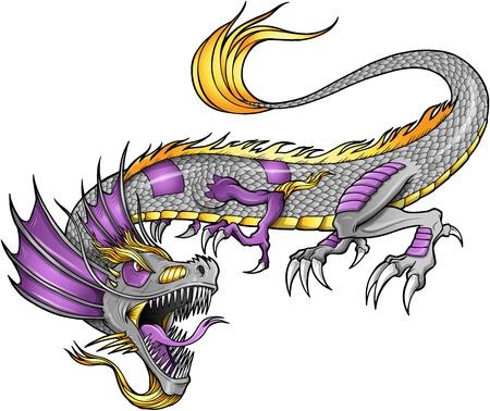 Robot van Cyborg Dragon Vector Illustratie kunst