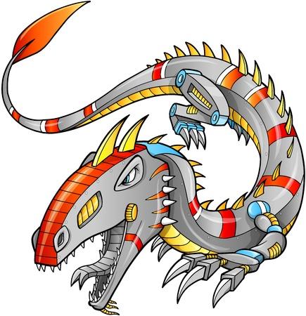 robot vector: Robot Cyborg Dragon Vector Illustration art