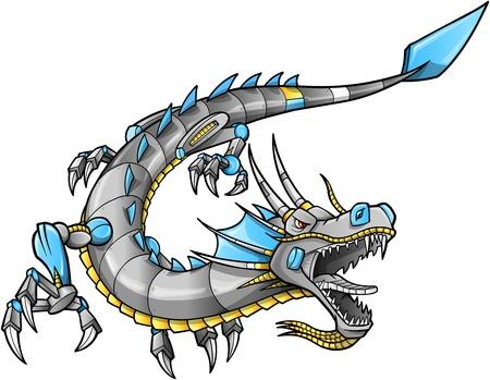 japanese ethnicity: Robot Cyborg Dragon Vector Illustration art