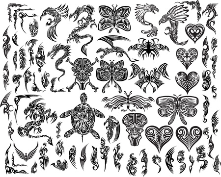 schildkr�te: Iconic Dragons Schmetterling Eagle Tattoo Tribal Illustration