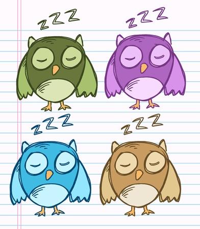 notebook: Sketch Doodle Drawing Owl Bird  Illustration