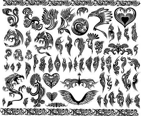 집게발: 아이코닉 용 테두리 문신 부족의 벡터 설정 프레임