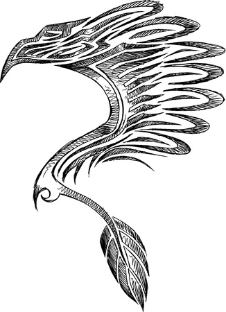traditional tattoo: Sketch Doodle Eagle Tattoo Vector Illustration
