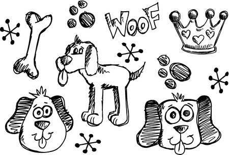 sketch: Doodle Sketch Puppy Dog Vector pet set