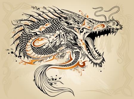 Dragon Tattoo Sketch Doodle Foto de archivo - 16798952
