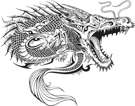 tribal dragon: Dragon Doodle Sketch Tattoo