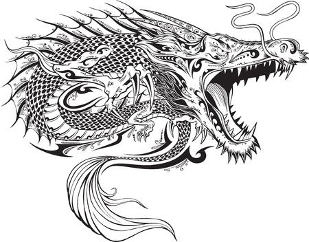 Dragon Tattoo Sketch Doodle Foto de archivo - 16798944