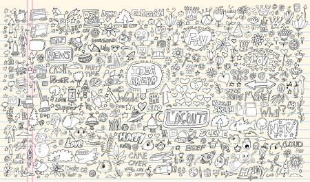 Conception Notebook Doodle Set Éléments Illustration Mega Banque d'images - 16798947