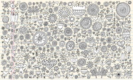 Sketch Doodle Vector Flowers Spring Set Foto de archivo - 17122637