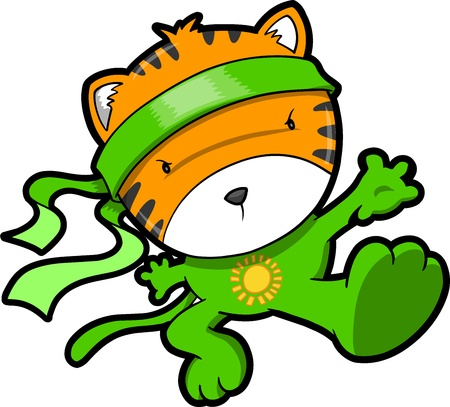 Leuke Tiger Cub Ninja Vector Stock Illustratie