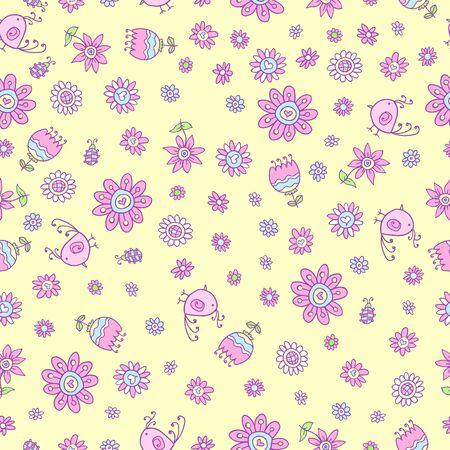 springtime: Cute Springtime Doodle Seamless Pattern