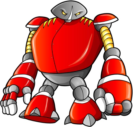 Massive Warrior Robot Cyborg Soldier Vector Vector
