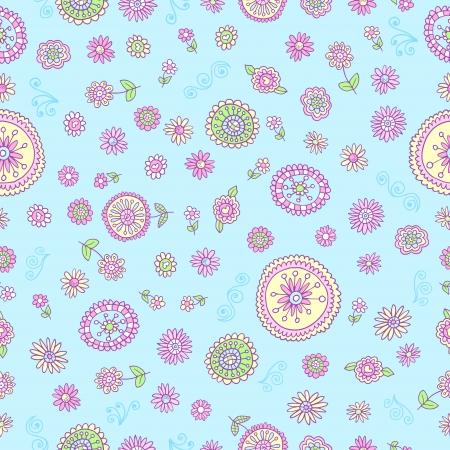 springtime: Cute Springtime Doodle Seamless Pattern Vector Illustration