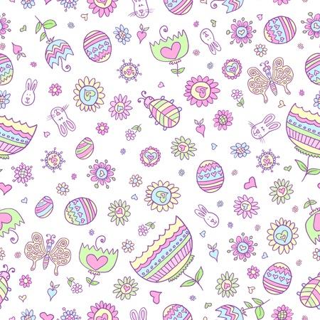 springtime: Springtime Easter Doodle Seamless Pattern Vector