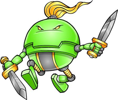 alien robot: Warrior Ninja Cyborg Soldier Vector