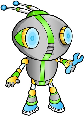 warriors: Cute Robot vector illustration Illustration