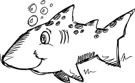 Cute Sketch Doodle Shark Ilustrace