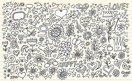 Doodle Sketch Flowers Spring Set Vector