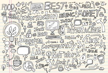 Internet Business Technology Doodle Set Vector