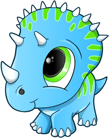 Cute Baby Triceratops Dinosaur Illustration