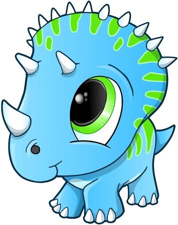 cute dinosaur: Cute Baby Triceratops Dinosaur Illustration