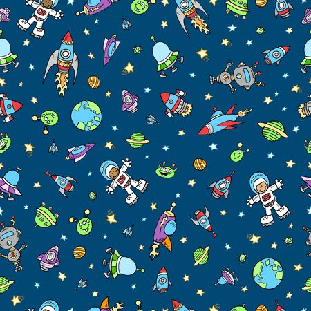 earth from space: Outer Space Doodle Seamless Pattern Illustration