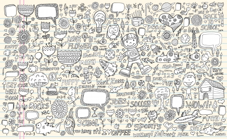 Notebook Doodle Design Elements Vector Set Vector