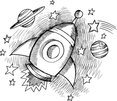 Cute Outer Space Rocket Sketch Vector Stock Vector - 17455782