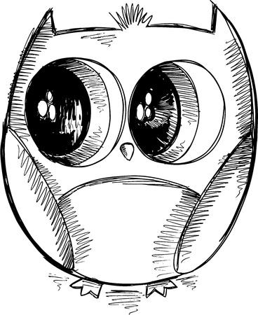Cute Owl Sketch Doodle Vector
