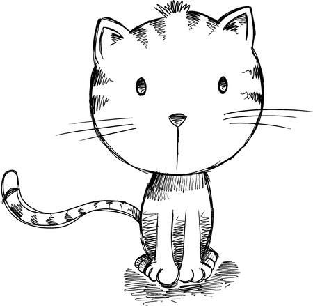 Sketch Kitten Cat Vector Art