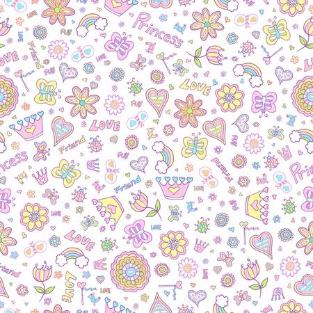 Springtime Princess Seamless Pattern Vector Vector