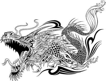 dragon chinois: Dragon Tattoo Sketch Doodle