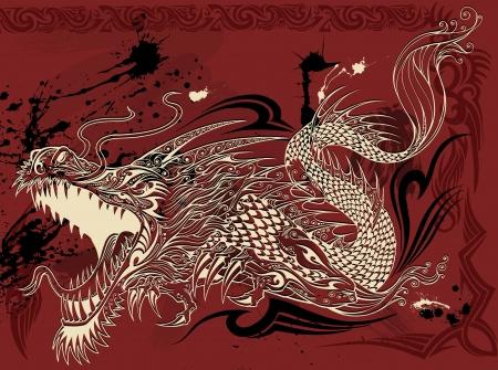 Dragon Tattoo Sketch Doodle Foto de archivo - 17718187