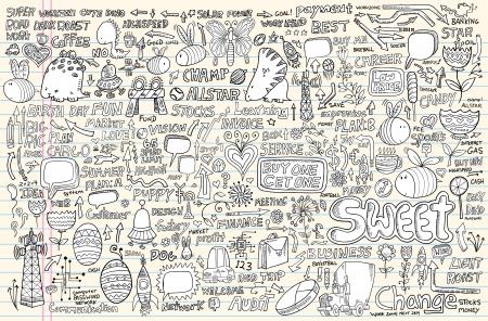 dinosaur egg: Notebook Doodle Design Elements Set