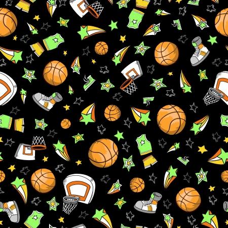 Basketball Sports Seamless Pattern Vector Ilustracja