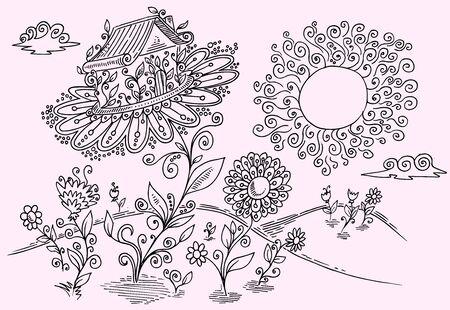 Doodle Flower Garden Vector  Illustration Art