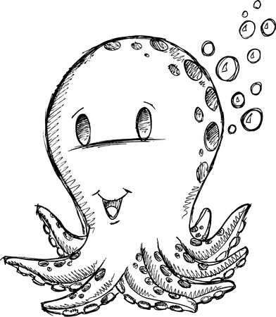 sea creature: Sketch Doodle Octopus Vector Art Illustration