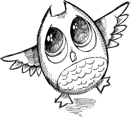 Cute Sketch Doodle Owl Vector Illustration Art