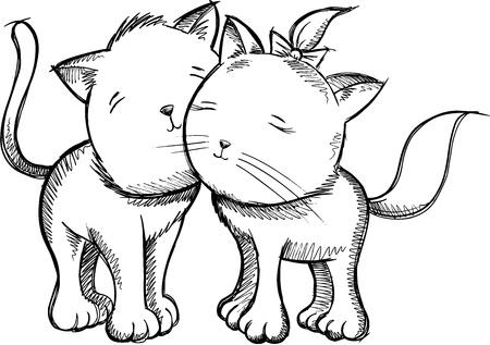Cats Sketch Doodle Vector Illustration Art