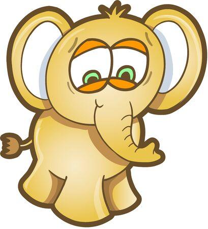 Worried Elephant Illustration Art 向量圖像