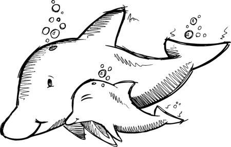 Cute Dolphins Sketch Illustration Art Stock Vector - 18150847