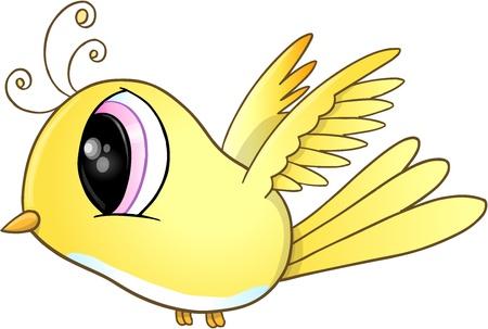 Cute Little Yellow Bird Vector Art Illustration